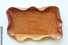Hand Carved Fruit Tray - Rare Natural Padouk Wood Carving - Wood Tray