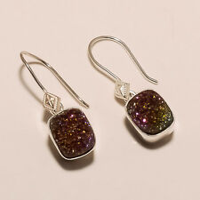 925 STERLING SILVER 4 gm DESIGNER EAR RING  AGATE DRUZY GEMSTONE 10x12  CUSHION