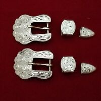 """1 PAIR OF BUCKLE SET SALE~2~ 1/2"""" HEADSTALL SPUR STRAP STERLING SILVER OVERLAY36"""