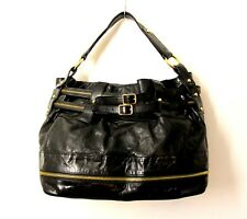 LRG REBECCA MINKOFF BELTED BLACK GENUINE LEATHER TOTE SHOULDER BAG HANDBAG PURSE