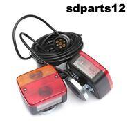 Set Pronto Fanali Posteriore Magnetico Rimorchio Trattore 4 Funzioni 12V 7 Poli