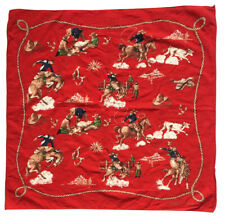 "RALPH LAUREN Red Cotton Bandanna Scarf 25'""-Square Cowboys Ranch Lasso Broncos"