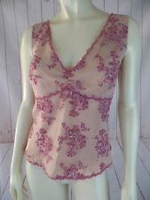 Eci NY Top 12 Sleeveless Sheer Poly Embroidered Sequin Silver Pink Floral