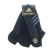 3 Pair Adidas Superlite No Show Socks, Men's Shoe Size 6-12, Navy Blue, (L21) P