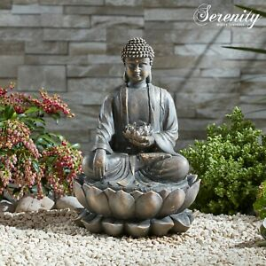 Serenity Buddha Garden Water Feature Fountain Self Contained 35cm Ornament NEW