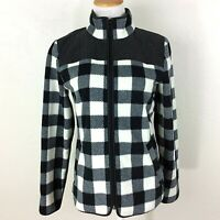 TALBOTS Zip Fleece Jacket Buffalo Plaid Quilted Elbow Patches Black White Small