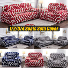 1/2/3/4 Seats Spandex Grids Elastic Stretch Sofa Armchair Cover Slipcovers Home