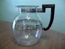 Vintage Pyrex Glass Coffee Tea Pot Bakelite Handle 84-66 Rare Silver Art Deco