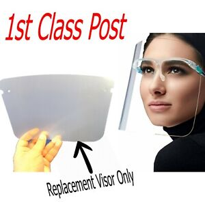 Replacement Glasses Design Face Shield Visor Protection Mask Sheild Safety Clear