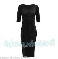 Women Basic Plain Casual Wear to Work Shift Stretch Tight Bodycom Midi Dress 2XL