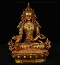 "9"" China Purple Bronze Gold Kwan-yin Guan Yin Boddhisattva Avalokitesvara Statue"