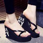 Women's Platform Slippers Flip Flops Wedge High Heels Sexy Beach Shoes Sandals