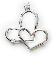 Stainless Steel Double Heart Pendant with CZ Charm