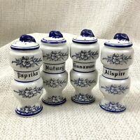 Vintage Blue and White China Spice Jars Pots Shakers Nutmeg Cinnamon Paprika