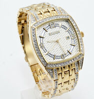 New Elgin Men`s Gold-Tone Date Crystal Band Rectangle Quartz  Watch FG7097