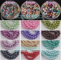 Wholesale 200-1000pcs Round Pearl Glass Loose Beads Jewelry Making 4mm 6mm 8mm