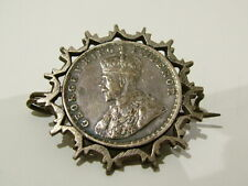 1918 Solid Silver Coin Brooch Pin 232 Antique Trench Art Indian Half Rupee Dated