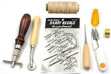 7pcs leather & canvas  Craft Hand Stitching Sewing Tool Set Kit Thread Awl Waxed