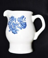 "Small Stoneware Pitcher Creamer White with Blue Floral Design 4 3/4"" Tall"