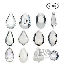 24pcs Clear Chandelier Glass Crystals Lamp Prisms Parts Hanging Drops Pendants