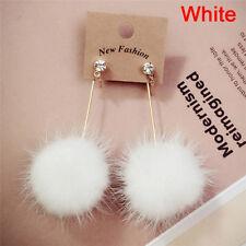 Fur Ball Pompom Long Earrings Drop Dangle Earrings Women Ear Studs Jewelry ATCA