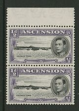 More details for ascension 1938 ½d violet with re-entry cw 14a mnh.