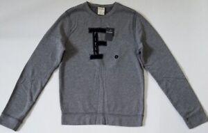 NEW ABERCROMBIE & FITCH KIDS * A&F Boys Fleece Sweatshirt Crew Neck H Grey L XL