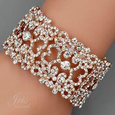 ROSE GOLD Plated Crystal Rhinestone Wedding Bangle Cuff Stretch Bracelet 07755