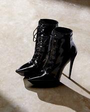 Saint Laurent YSL BETTY Lace Up Black Patent Platform Boots EU 36 I LOVE SHOES