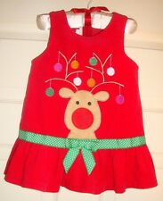 """BONNIE/BABY~girl~XMAS/EMBROIDERED/REINDEER/RED/CORDUROY/JUMPER/DRESS!(18MO)""""euc"""""""