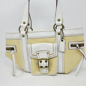 Authentic Coach Legacy White Leather Tan Straw Rafia Hobo Shoulder Bag MO5K-113