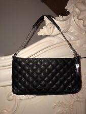 DKNY Black Quilted Handbag Silver Strap