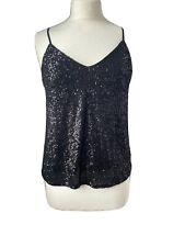 BNWT EMMA ELLA Black Sequinned Camisole Size S/M RRP £30
