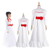 The Conjuring Annabelle Doll Cosplay Costume Adult Kid Halloween Long WhiteDress