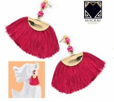 MACKRI Fan Shape Long Tassel Hook Drop Earrings  PINK