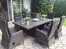 Gartengarnitur Polyrattan grau Sitzgruppe Gartenset Gartenmöbel verstellbar NEU