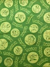 Pokemon Fabric - Fat Eighth - Lime Green - 100% Cotton