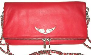 ZADIG & VOLTAIRE Passion Red Leather Clutch Shoulder bag  Crossbody NWT