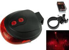 Lot3 Flashing Lamp Tail Light Rear Bicycle Safety Warning Red 2 Laser+5 LED