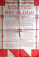 § MURALE IN ROSSO 1933 - ANTITUBERCOLARE PROV. VICENZA, DECALOGO XI CAMPAGNA TBC