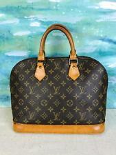 $1530 LOUIS VUITTON Alma Brown Monogram Canvas Satchel Bag Leather Vintage SALE!