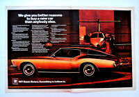 Vtg 1971 Buick Riviera 2 page retro car advertisement print ad art