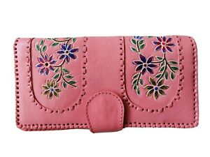 PINK Hand painted genuine handmade ethnic leather patchwork wallet purse women