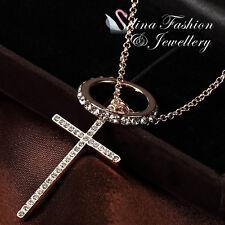 18K Rose Gold Plated Simulated Diamond Stylish Cross Ring Set Necklace