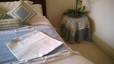 Vintage Horchow Collection Blue Chambray  Drapes & Piullowcovers
