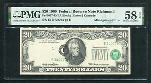 "FR. 2067-E 1969 $20 FRN ""MISALIGNMENT ERROR"" PMG ABOUT UNCIRCULATED-58EPQ"