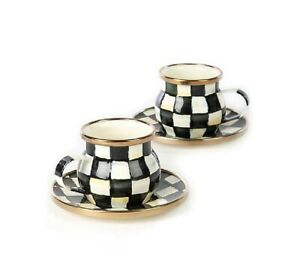 MACKENZIE CHILDS ENAMEL COURTLY CHECK SET OF TWO ESPRESSO CUPS & SAUSERS BOX NEW