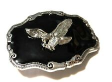 ✖ WESTERN STEER EAGLE Cowboy Rodeo Style ✖ Belt Buckle Buck ✖ Silver and black