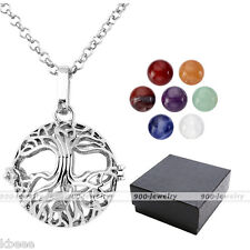 Openable Locket Life of Tree 7 Chakra Gemstone Beads Pendant Necklace Chain Box