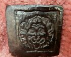 Black antique Majolica style reclaimed  tile gothic Lion face rare example